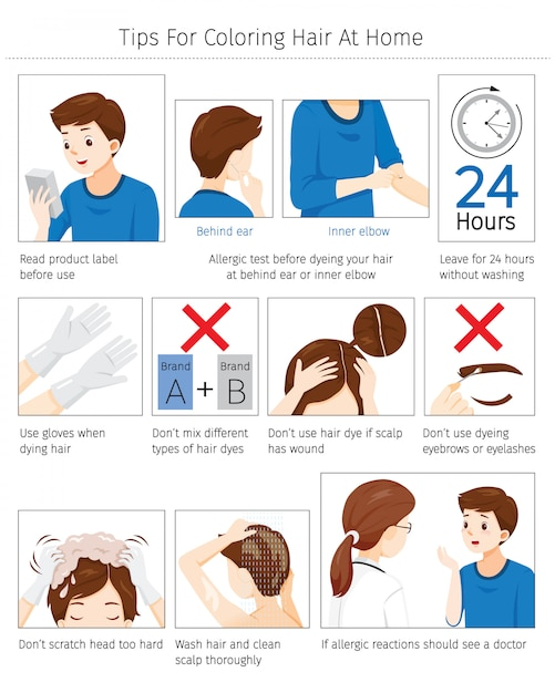 Suggerimenti e precauzioni prima dell'uso tinture per capelli per colorare i propri capelli a casa Vettore Premium