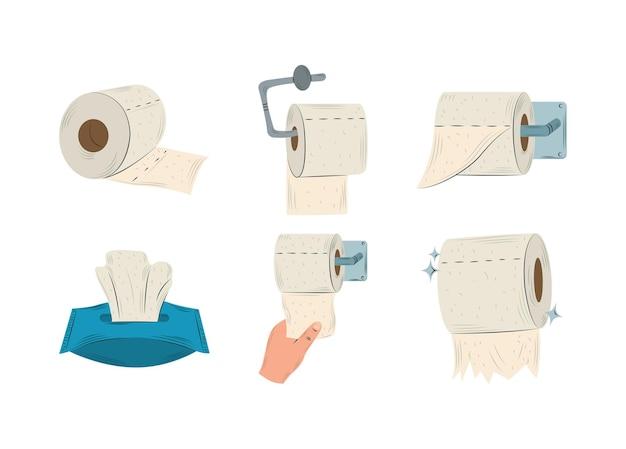 Rotoli di carta igienica appesi, scatola del tessuto e mano con illustrazione della raccolta della carta Vettore Premium