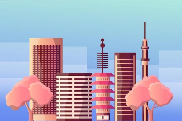Paesaggio dell'illustrazione della città di tokyo per le attrazioni turistiche Vettore Premium