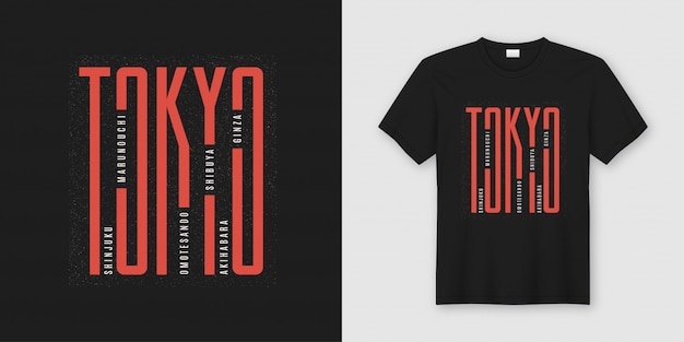 T-shirt alla moda di tokyo e abbigliamento dal design tipografico Vettore Premium