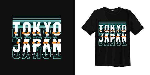 Tokyo giappone tipografia grafica astratta glitch t shirt design Vettore Premium