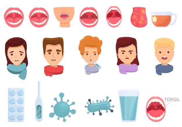 Set di icone di tonsillite, stile cartoon Vettore Premium