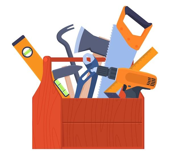 Scatola portautensili. strumenti a portata di mano. utensili manuali chiavi, ascia, sega, piede di porco, cacciavite. ristrutturazione della casa. illustrazione vettoriale Vettore Premium