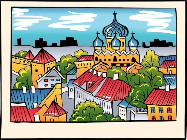 Collina di toompea con mura della fortezza, torre e cattedrale ortodossa russa alexander nevsky, vista dalla torre della chiesa di sant'olaf, in stile schizzo, tallinn, estonia Vettore Premium