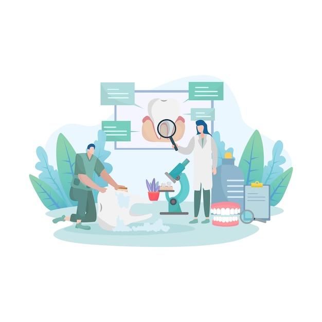 Concetto di rischio di malattia del dente con visita medica dall'illustrazione dei medici Vettore Premium