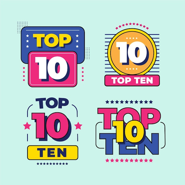 Raccolta dei 10 migliori badge Vettore Premium