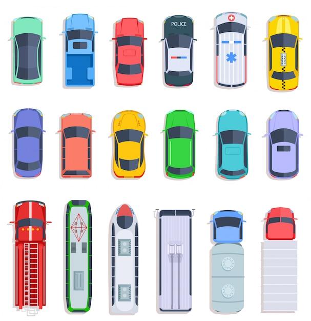 Trasporto pubblico vista dall'alto. taxi e auto della polizia, autobus urbani e ambulanze. insieme di vettore piatto camion, treno e camion di consegna Vettore Premium