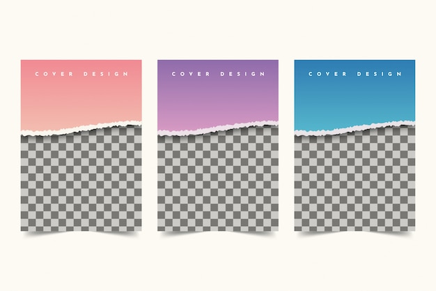 Disegno di copertina di carta strappata Vettore Premium