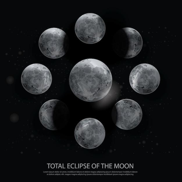 Illustrazione di eclipse of the moon totale Vettore Premium