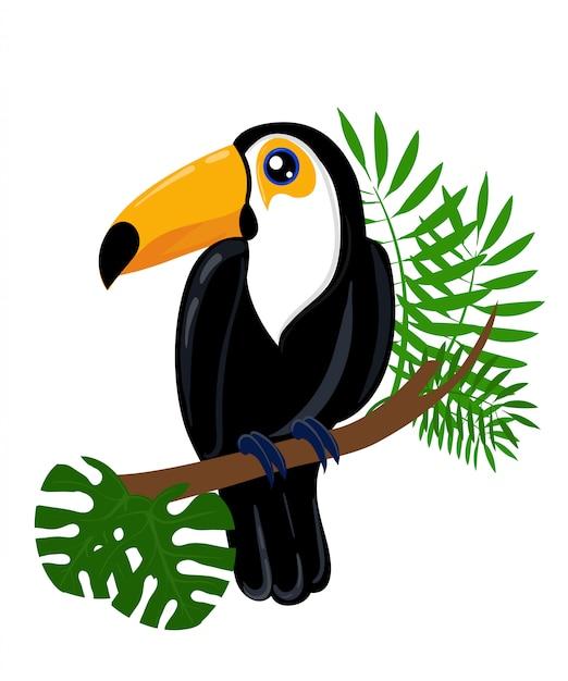 Personaggio dei cartoni animati di toucan bird. tucano carino su bianco. fauna del sud america. icona di cavia. illustrazione di animali selvatici per annuncio zoo, concetto di natura, illustrazione di libri per bambini. Vettore Premium
