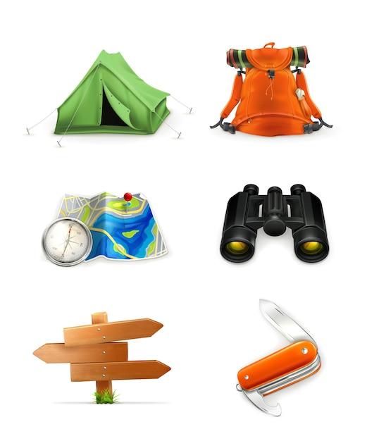 Set di icone di turismo, Vettore Premium