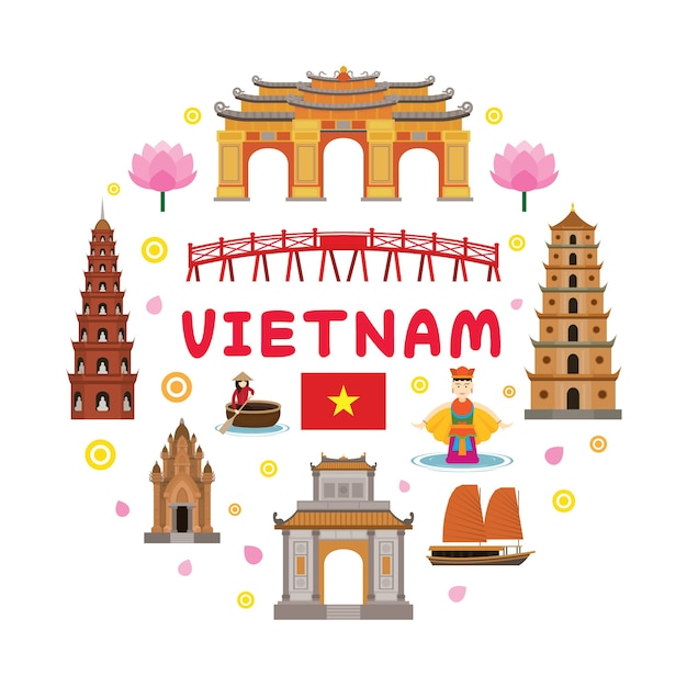 Turismo e cultura tradizionale Vettore Premium