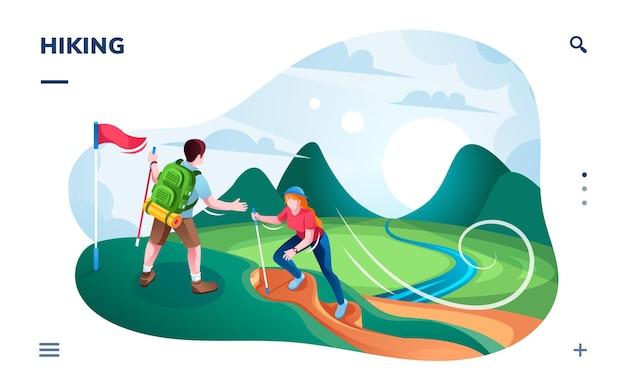 Escursionismo turistico in collina o alpinisti che scalano in cima alla montagna con bandiera. Vettore Premium