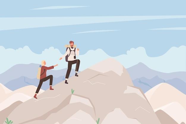 Le persone turistiche si arrampicano sull'illustrazione della montagna Vettore Premium
