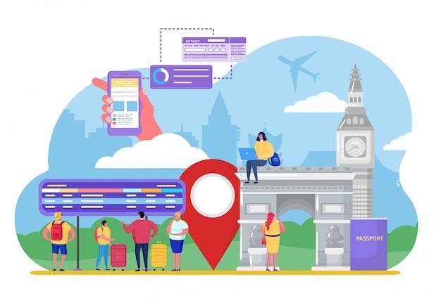 La gente turistica viaggia in aereo, personaggio dei cartoni animati minuscolo uomo donna acquistare biglietto aereo, vacanza su bianco Vettore Premium