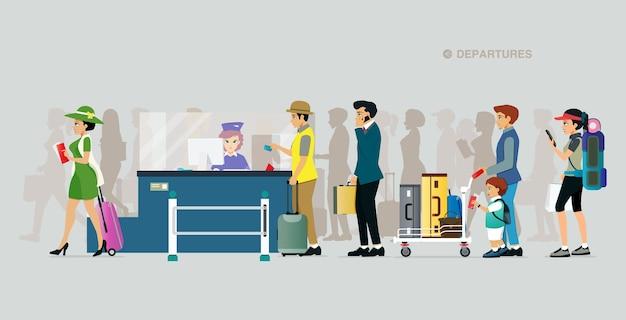 I turisti fanno la fila per acquistare i biglietti aerei con uno sfondo grigio Vettore Premium