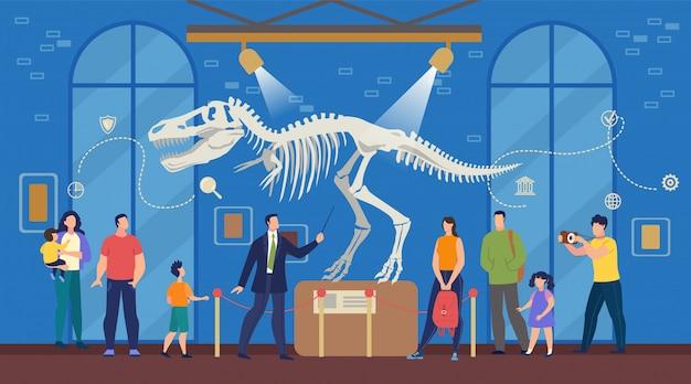 Turisti al museo archeologico di scienze naturali Vettore Premium