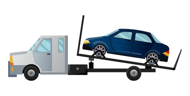 Carro attrezzi. camion di rimorchio piatto fresco con auto rotta. veicolo di assistenza per servizio di riparazione auto stradali con auto danneggiata o recuperata Vettore Premium