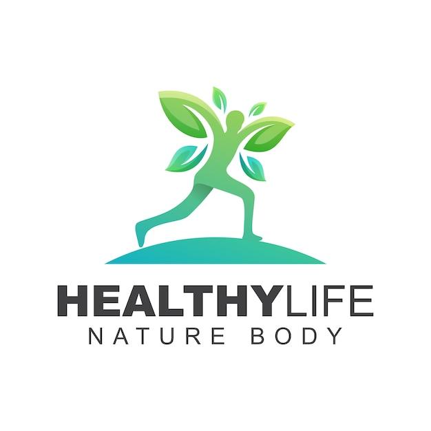 Verso un logo di vita sana, modello di progettazione di logo di persone foglia corsa Vettore Premium