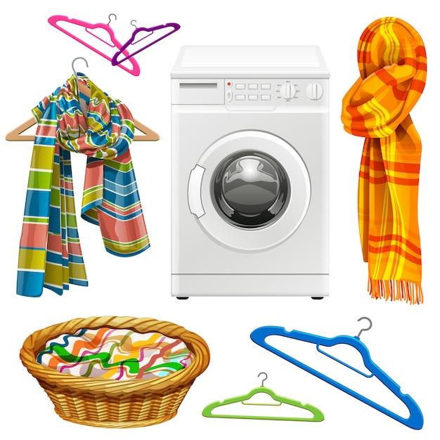 Asciugamano, sciarpa, cestino, appendini e lavatrice Vettore Premium