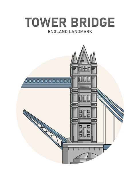 Manifesto del punto di riferimento inghilterra del tower bridge Vettore Premium