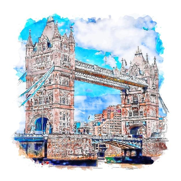 Illustrazione disegnata a mano di schizzo dell'acquerello di londra del tower bridge Vettore Premium