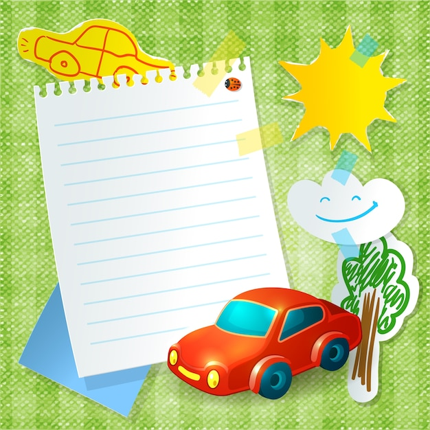 Modello della cartolina della carta dell'automobile del giocattolo Vettore Premium