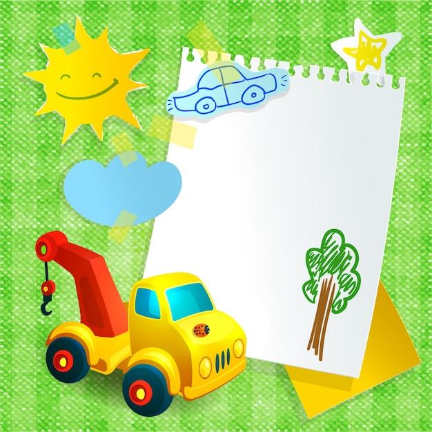 Modello di costruzione del giocattolo della carta della cartolina della carta Vettore Premium