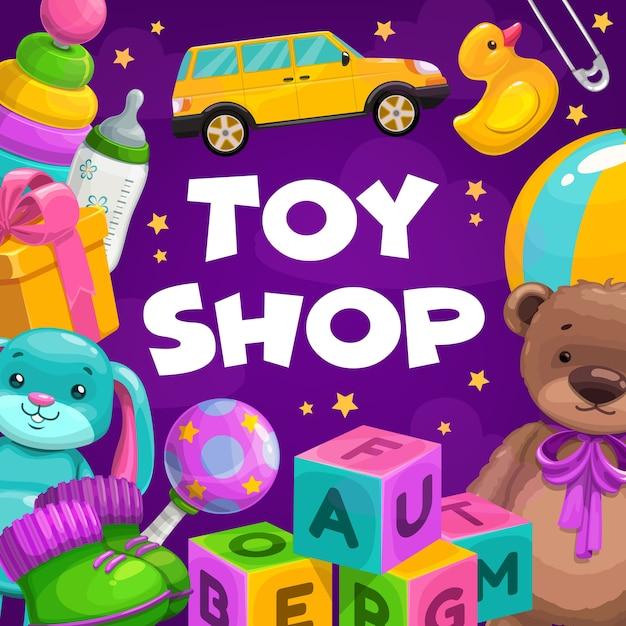 Merci del negozio di giocattoli. regali per bambini, bambini piccoli e neonati, giocattoli educativi e morbidi di peluche. Vettore Premium
