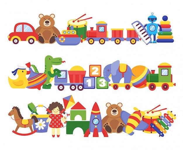 Mucchio di giocattoli. gruppi di bambini gioco di plastica giocattoli per bambini elefante orsacchiotto treno razzo bambola bambola dino Vettore Premium
