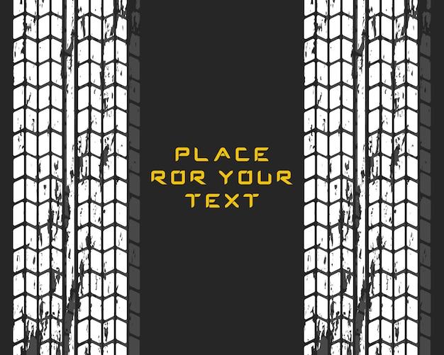 Tracce di pneumatici per auto. motocross, pista ciclabile, pista automobilistica o corse automobilistiche. servizio auto cambio gomme. Vettore Premium