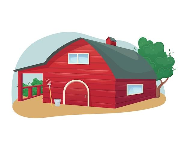 Fienile in legno rosso americano tradizionale. azienda agricola. agricoltura, allevamento. Vettore Premium