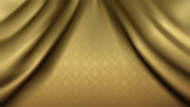 Fondo tailandese dorato di collegamento tradizionale del modello della flora sulla tenda dell'onda del tessuto di seta Vettore Premium