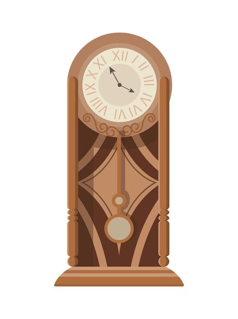 Orologio a pendolo classico da terra o da tavolo con decoro in legno intagliato. Vettore Premium