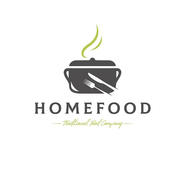 Modello di logo di vettore di cibo tradizionale Vettore Premium