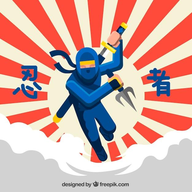 Sfondo tradizionale guerriero ninja con design piatto Vettore Premium