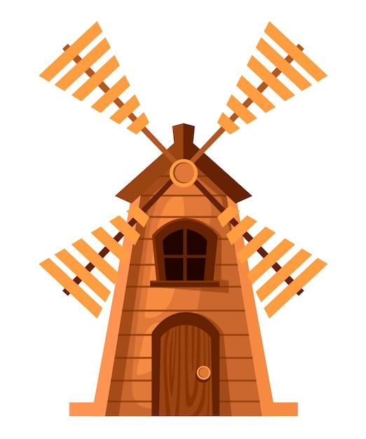 Vecchio mulino a vento tradizionale. mulino in legno. . illustrazione su sfondo bianco. pagina del sito web e app per dispositivi mobili. Vettore Premium