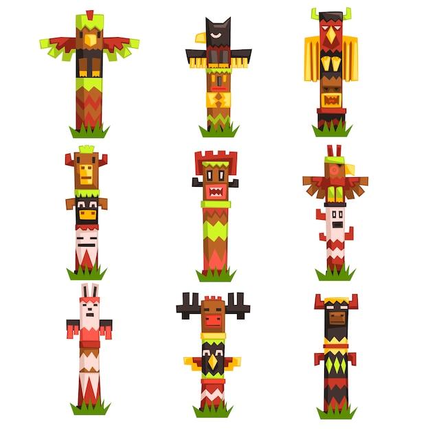 Set di totem religiosi tradizionali, simbolo tribale della cultura nativa, maschere di idolo scolpite illustrazioni vettoriali Vettore Premium