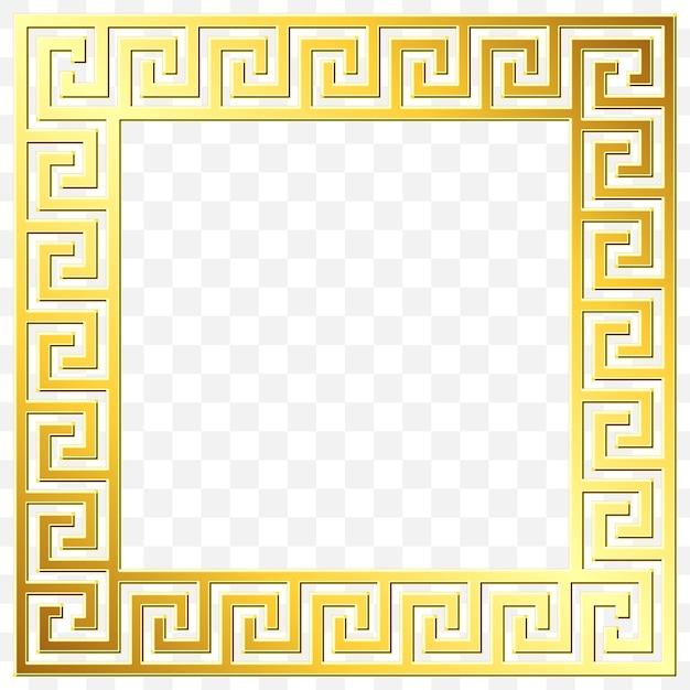 Ornamento greco tradizionale oro vintage, meander Vettore Premium