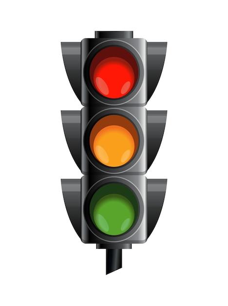 Semaforo di colore rosso, giallo e verde. Vettore Premium