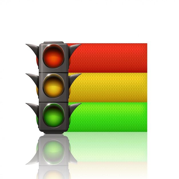 Luce da traffico a tre linee di colore Vettore Premium
