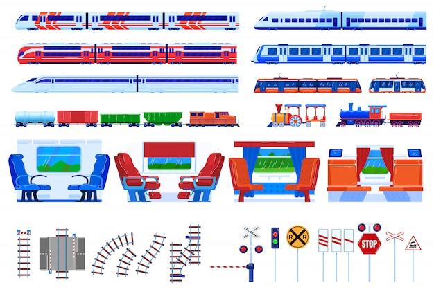 Insieme dell'illustrazione di vettore del trasporto ferroviario del treno. Vettore Premium