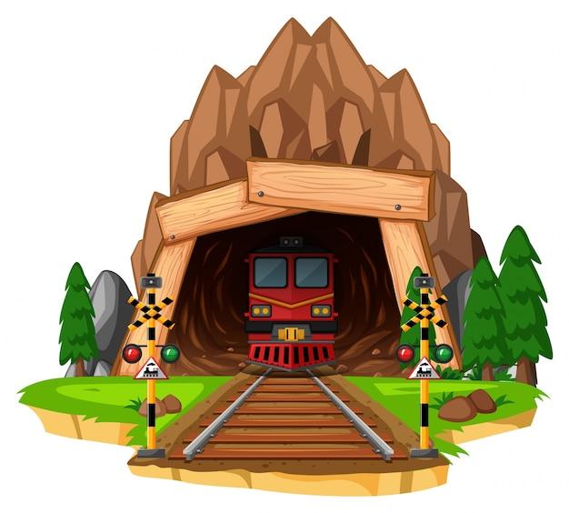 Corsa in treno sulla pista attraverso il tunnel Vettore Premium