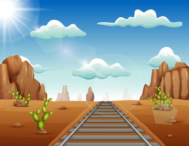 Pista del treno nel fondo del selvaggio west Vettore Premium