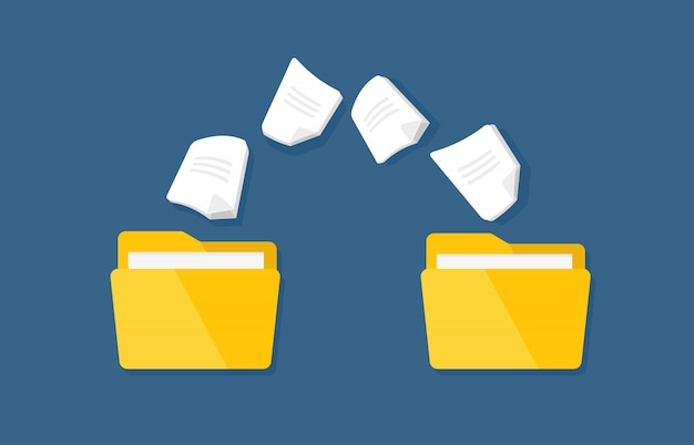Trasferimento di documentazione. cartelle piatte vettoriali con file cartacei. Vettore Premium