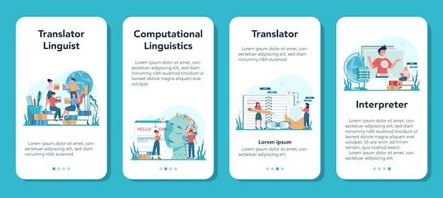 Set di banner per applicazioni mobili di traduttore e servizio di traduzione. poliglotta che traduce documenti, libri e discorsi. traduttore multilingue utilizzando il dizionario. Vettore Premium
