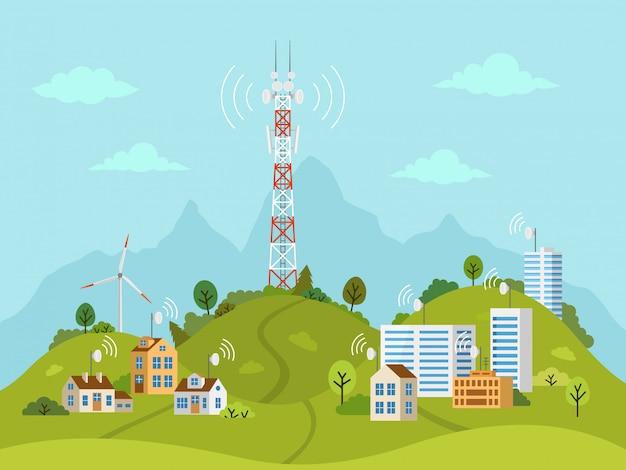 Torre di trasmissione sul paesaggio con onde di segnale Vettore Premium