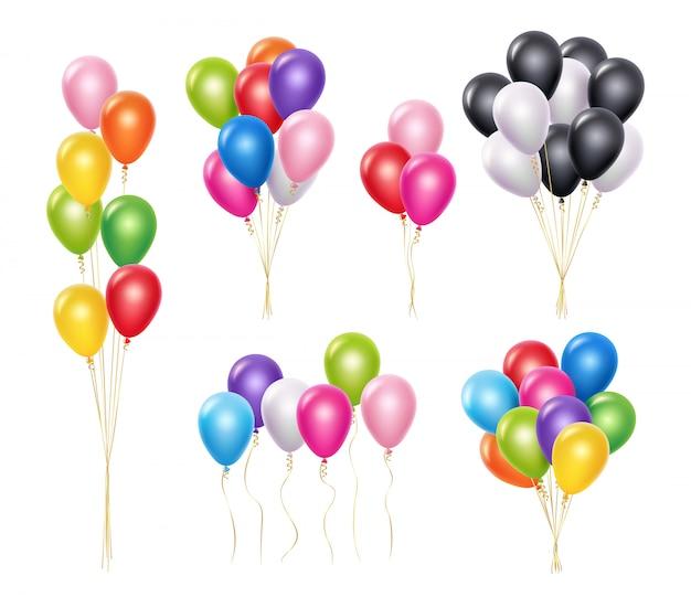 Palloncini trasparenti. collezione realistica di palloncini decorazione mockup volo 3d elio partito realistico Vettore Premium