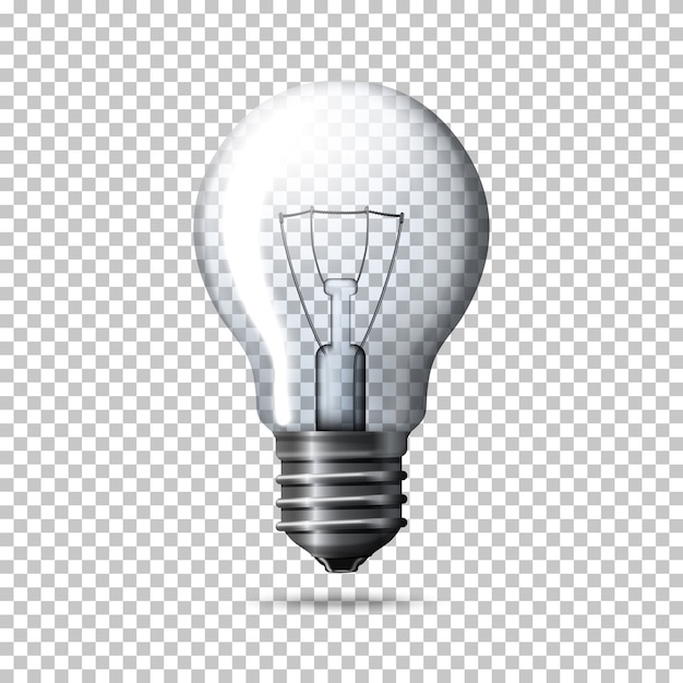Lampadina realistica trasparente Vettore Premium