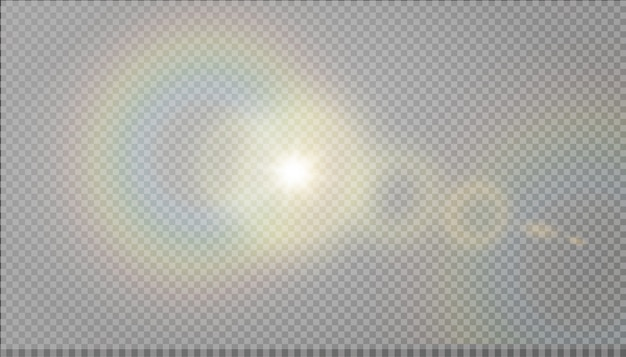 Effetto luce riflesso lente speciale luce solare trasparente. Vettore Premium